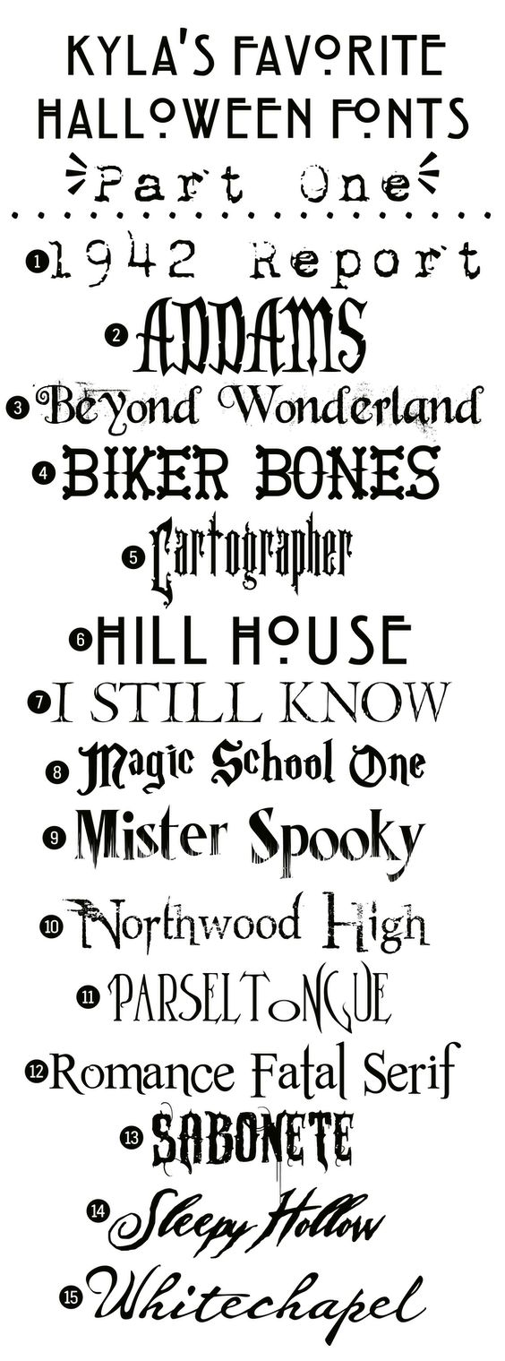 """Free Halloween Fonts: {Part One} @thekyla. Wanted to pin these to you anyway since you like free fonts... this one even has your name! And """"hill house"""" is American horror story 0.0"""