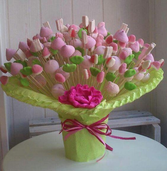 Candy bouquet centerpiece Ramo de chuches ideas comunión