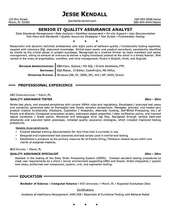 Cv Template Quality Assurance | Work | Project manager ...