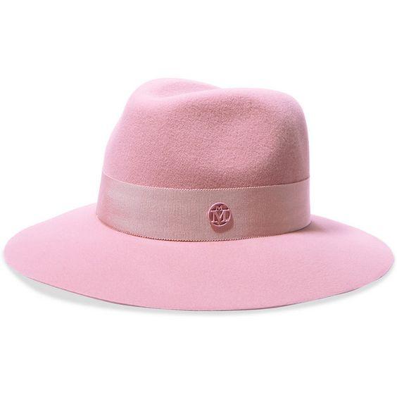 Maison MichelHenrietta Grosgrain-trimmed Rabbit-felt Fedora ($585) ❤ liked on Polyvore featuring accessories, hats, pastel pink, fedora hat, pink hat, rabbit hat, maison michel hats and felt fedora