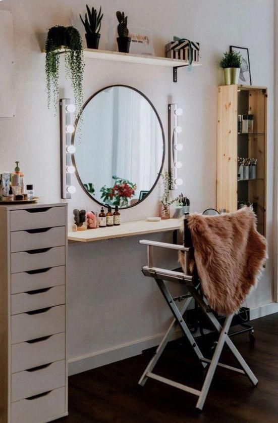 Dressing Table Makeup Home Decoration Small Room Mirror Stool Bedroom Cloakroom Bathroom Diy Makeup Room Diy Small Room Design Built In Dressing Table