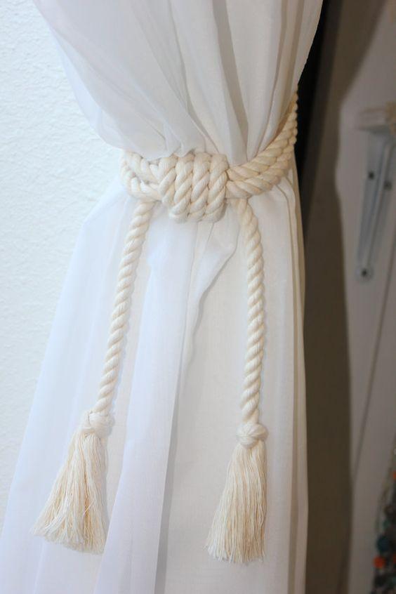 Curtains Ideas beach cottage curtains : 4 Nautical rope curtain tie backs - Shabby cottage beach house ...