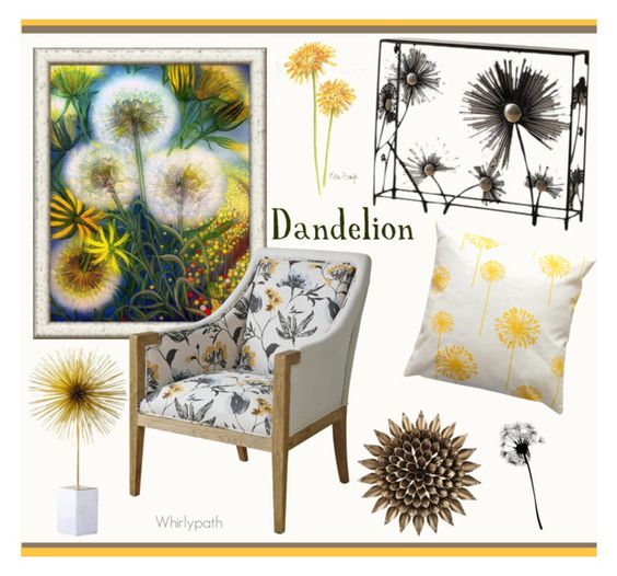 """Dandelion!"" by whirlypath ❤ liked on Polyvore featuring interior, interiors, interior design, home, home decor, interior decorating, Sterling, Dot & Bo and Global Views"