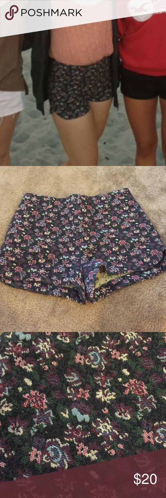 High waisted flower shorts In awesome condition. Only worn once! They are super fun and cute! I got them at urban outfitters Kimchi Blue Shorts Jean Shorts