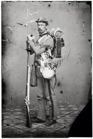 Civil war soldier's carried about 40 pounds while on the march. Canteen for water, haversack for food and knapsack for sleeping/personal items. Cap box, cartridge box, bayonet and musket or rifle were all for fighting.
