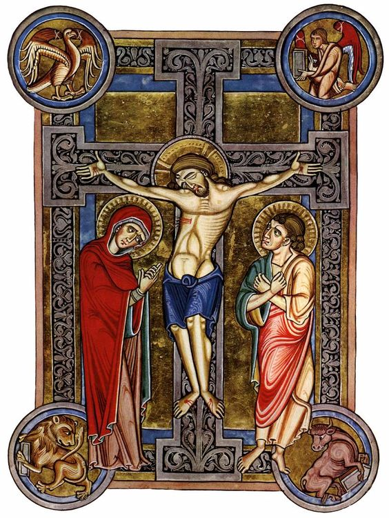 The Crucifixion, from the Weingarten Missal, 13th century: