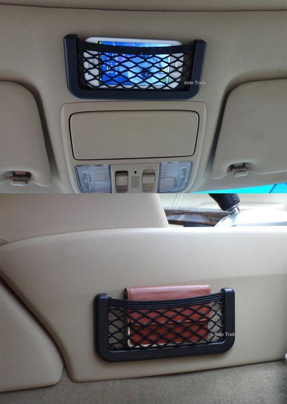 New Auto Car Vehicle Storage Nets Resilient String Bag Phone Holder Pocket Organizer Automotive