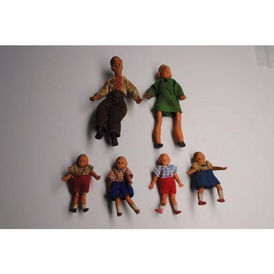 Muñecas antiguas para casa de muñecas parecen familia de 6 goma Bendable de…