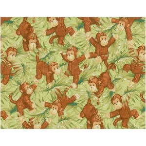 Green monkey fabric from walmart monkey nursery for Nursery monkey fabric