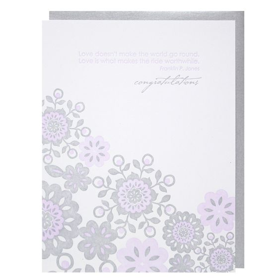Lace Pattern & Quote Wedding Card | Wedding Congratulations | Smudge Ink