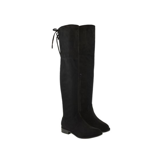 Black Suede Over The Knee Low Block Heel Lace Up Back Flat Boots - Rocket
