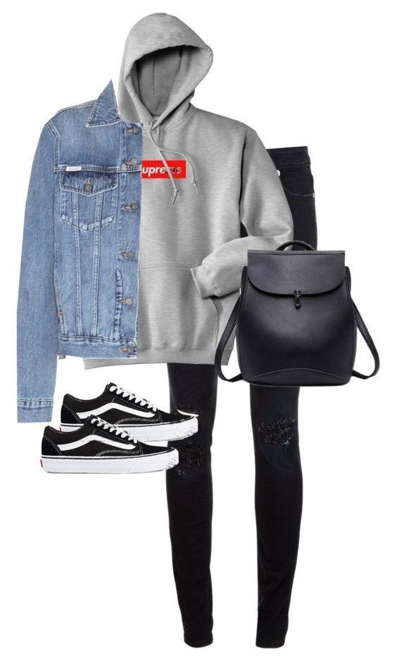 Grey Hoodie Denim Jacket Black Jeans Vans College Outfits Comfy Tween Outfits Denim Jacket With Hoodie
