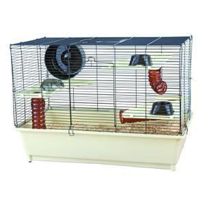 Cage avec équipement de base pour hamsters, 62 × 46 × 36 cm, crème/brun - Bac et accessoires en plastique résistant - Grillage métal noir, enduit - Une porte avant et au dessus - Adapté aussi pour un groupe de souris.