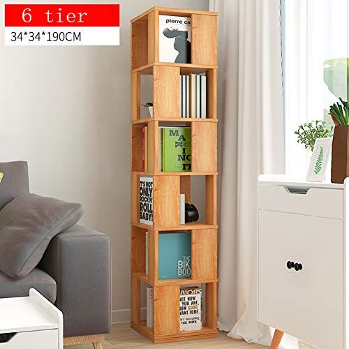 Xxllq Swivelling 6 Tiered Storage Tower Bookcase Floor Rack 6 Tier Shelves Bookshelf Free Standing Simple Bookcase Simple Bookshelf Bookshelves In Living Room