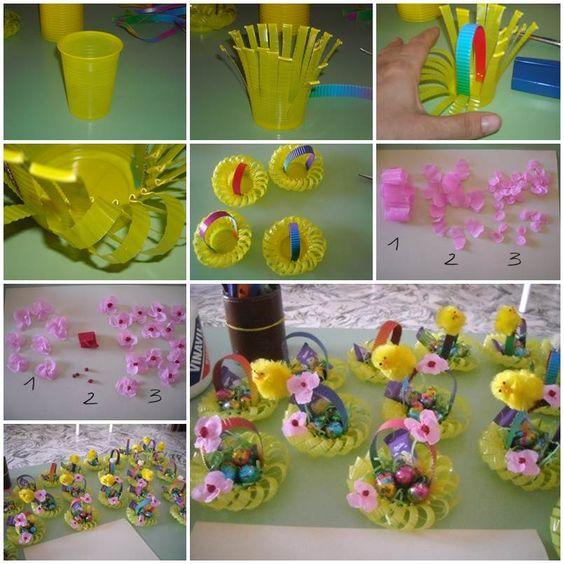 Lavoretto di pasqua per bambini - semplice e divertente, colorato e sostenibile, ecco come trasformare un bicchiere in plastica in un cestino per gli ovetti