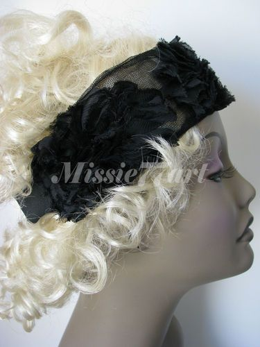 Gatsby 1920's Flapper Flower Mesh Headband - Choice of three Colours : Black, Red or Ivory   $36.95 each
