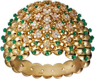Brazalete Cactus de Cartier Oro amarillo, esmeraldas, diamantes