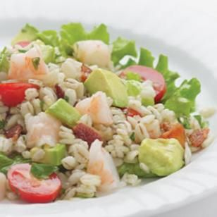 Bacony Barley Salad with Marinated Shrimp- 393 calories. Hate bacon though. Other than that, this looks/seems delicious.