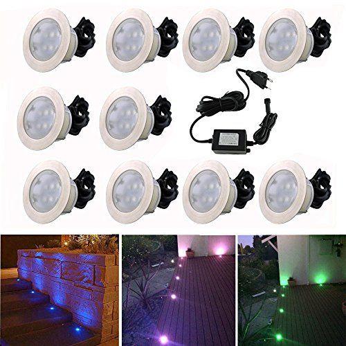 10x Lampe De Spot Encastrable Led O60mm Rgb Pour Terrasse Enterre Plafonnier 30lm Dc12v Ip67 Etanche Acier Inoxydable Avec T Plafonnier Spot Encastrable Bassin