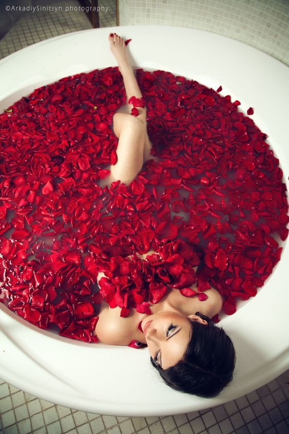 Bathing in rose petals.: