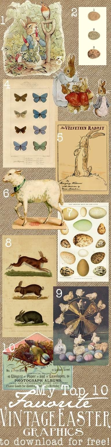 My Top 10 Favorite Free Vintage Easter Graphics to download with Links!!   @Amie Leckie