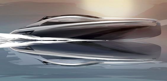Mercedes-Benz Silver Arrows Motor Yacht Design Sketch