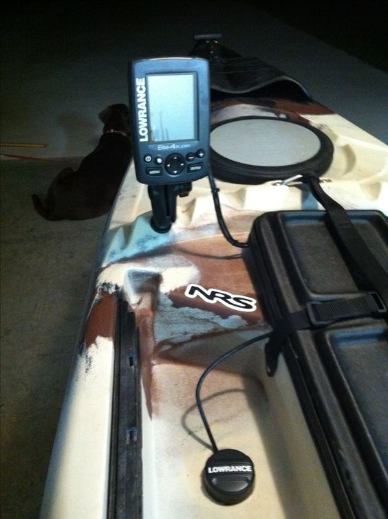 this is my fish finder setup on my jackson cuda 12. lowrance elite, Fish Finder