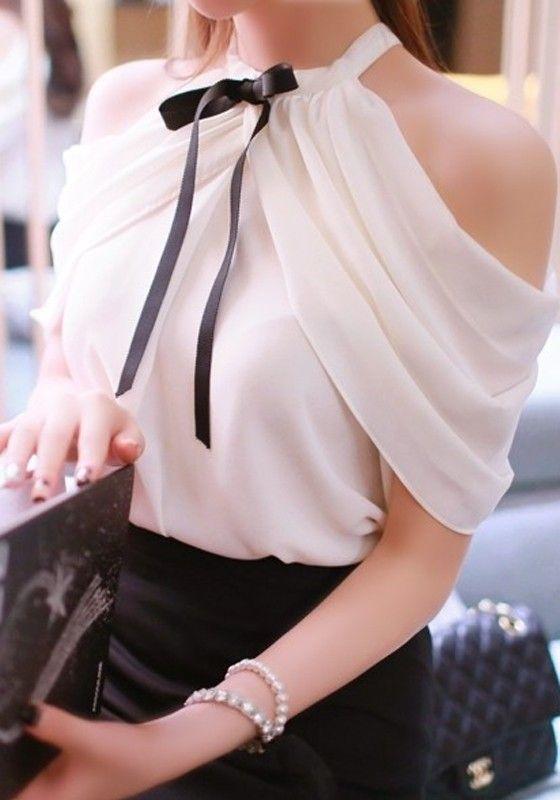 White Plain Bowknot Pleated Off Shoulder Slash Neck Split Sleeve Sweet Fashion Blouse: