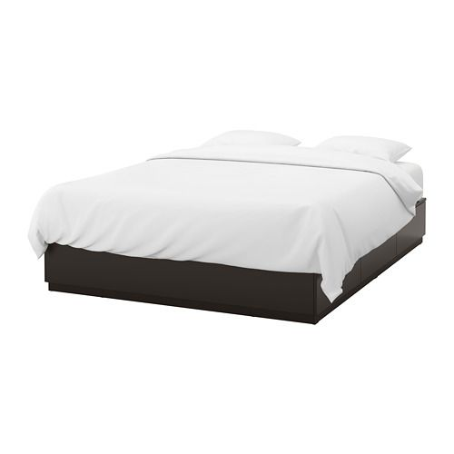 Nordli Anthracite Bed With Storage 140x200 Cm Ikea Bed Frame With Storage Bed Frame King Size Bed Frame
