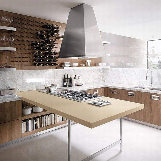 WEINREGAL!küchen möbel aus walnuss holz idee designer tischplatte - küche mit weinkühlschrank
