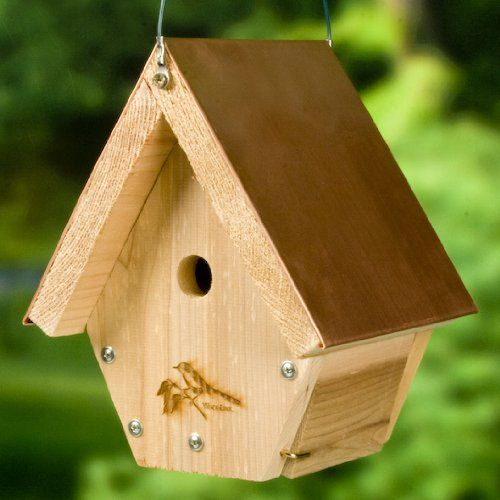 4724 4790 WoodLink Wren House Cedar Bird House with Copper