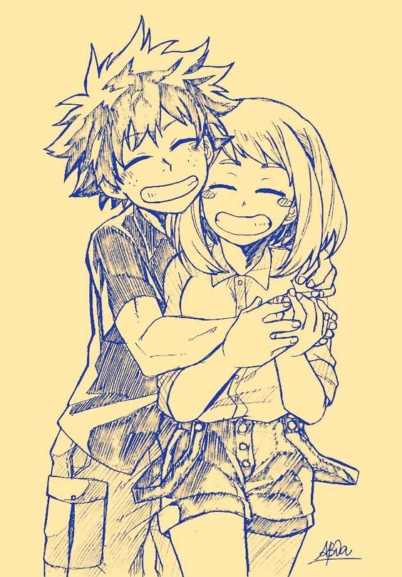 Ochako and Midoriya hug : TheTempleOfOchako