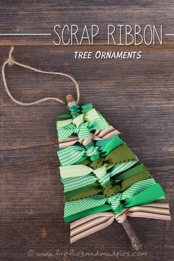 Scrap Ribbon Tree Ornaments! A fun (and frugal) Christmas ornament for kids! | Fireflies and Mud Pies: