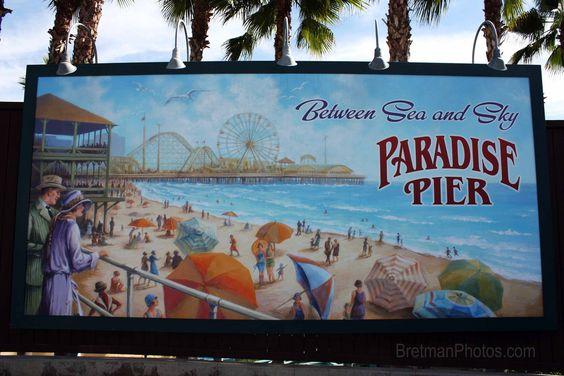 Paradise Pier Sign: Paradise Pier, Graphics Logo, Disney Then, Pier Sign, Vintage Prints, Happy Place, Pbr Design, Picture Frames, Things Disney