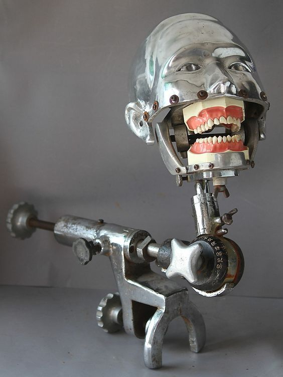 "vintage 1940/50's dental mannequin ""robot"" for teaching:"