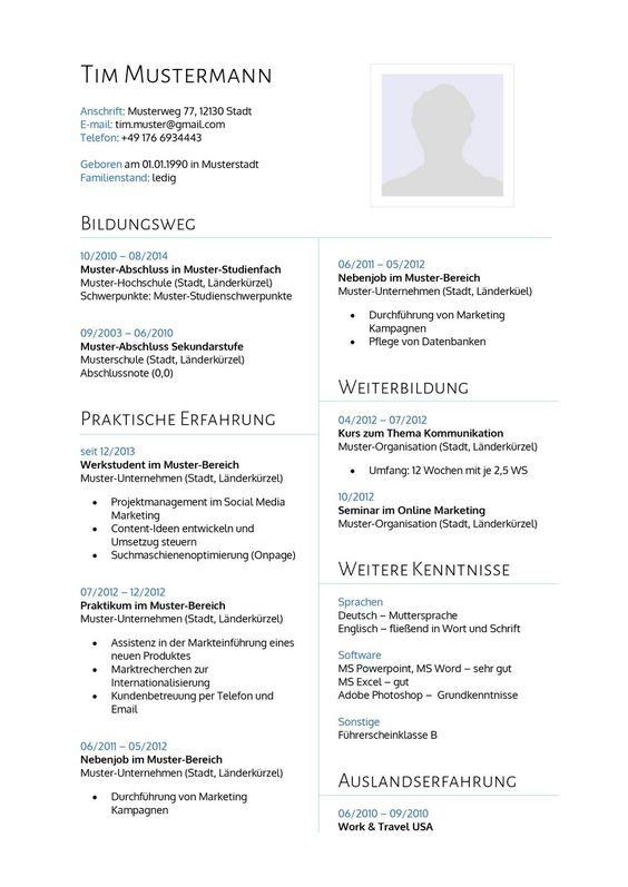 Lebenslauf Muster 14 - Lebenslauf Designs | Lebenslauf & Bewerbung