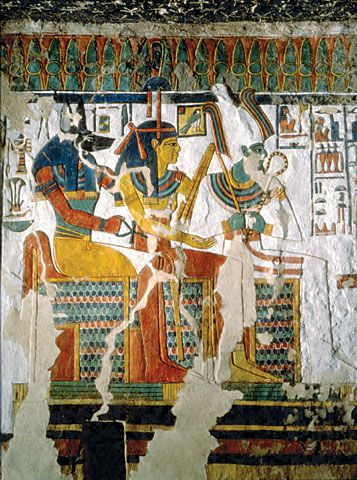 Tomb of Nefertari, The wall painting depicts the gods Anubis, Hathor, and Osiris. Photo: Guillermo Aldana.