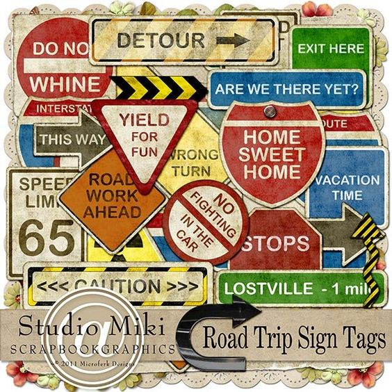 Road Trip Sign Tags By Miki