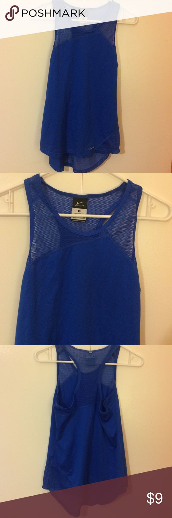 Electric Blue Nike Tank💠 Worn on various occasions! Fits well! The net material is soft! Loose fitting! Comment if you have any questions!☺ Nike Tops Tank Tops
