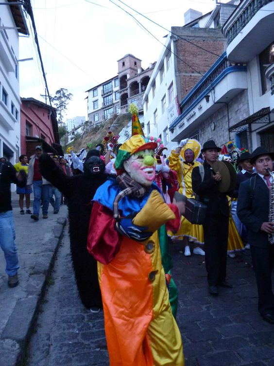 Traditional parade in the streets of Quito