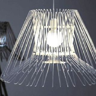 Wire hanger lamp.  I think I can make this.