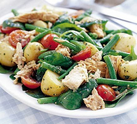 Warm potato & tuna salad with pesto dressing recipe  Super easy and delish, made this for lunch with the girls, will be making it again soon as the left overs were ravaged by starving Hubby...  :)
