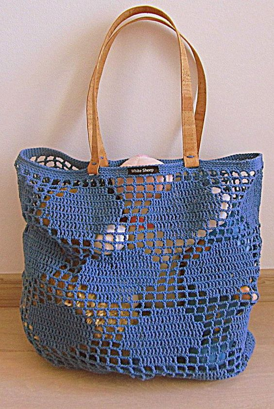 Handmade Blue Polka Dots CROCHET BagTote with by WhiteSheepShop