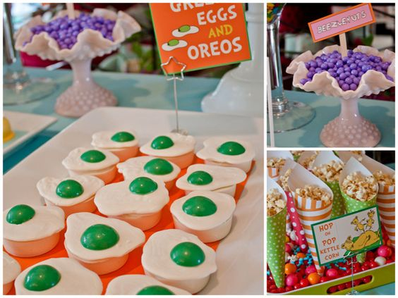 love all the cake pops and these ADORABLE green eggs (and ham) cupcakes.