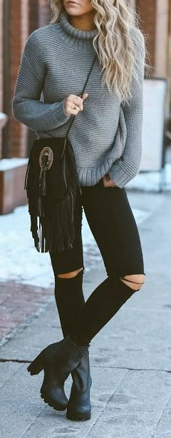 #winter #fashion / turtleneck knit: