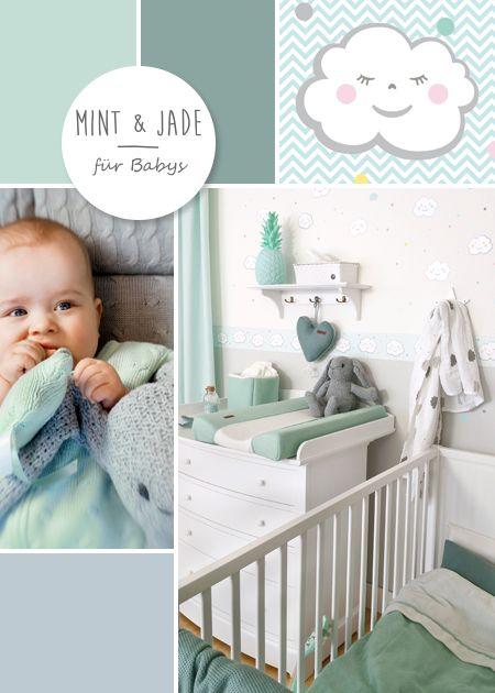 Babyzimmer mit wolken in grau mint jade kinderzimmer pinterest jade shops and mint - Babyzimmer gestaltungsideen ...