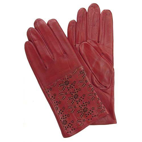 Floral Laser Cut Gloves - Red $58.00