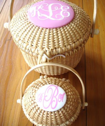 monogram nantucket basket