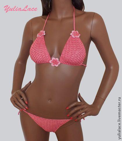 Вязаный купальник - розовый,розовый купальник,Вязаный купальник,купальник крючком
