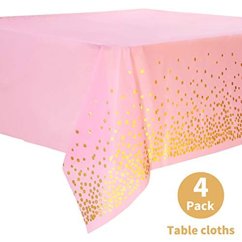 Duocute Pink Disposable Party Tablecloth For Rectangle Table Gold
